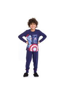 Pijama Infantil Inverno Capitáo América Avengers Evanilda