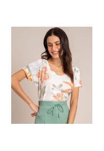 Camiseta De Flamê Estampada Floral Manga Curta Decote Redondo Off White