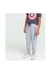 Calça Infantil Moletinho Estampa Capitão América Marvel