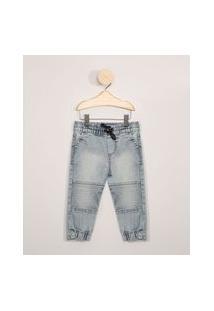 Calça Jeans Infantil Jogger Com Recortes Azul Médio