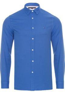 Camisa Masculina Slim Textured - Azul