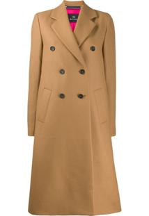 Ps Paul Smith Double Breasted Coat - Marrom