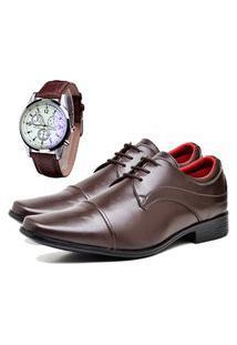 Sapato Social Urbano Com Relógio Masculino Dubuy 832Db Marrom