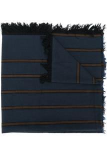 Uma Wang Cachecol Com Listras E Barra Desfiada - Azul