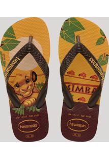Chinelo Infantil Havaianas O Rei Leão Estampado Simba Amarelo