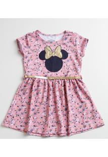 Vestido Infantil Piquet Estampa Minnie Manga Curta Disney