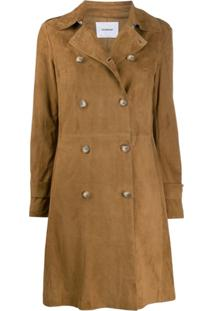 Dondup Fitted Double Breasted Coat - Marrom
