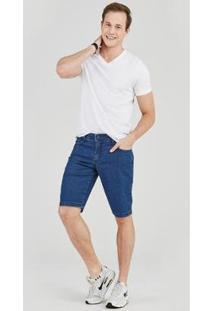 Bermuda Jeans Express Tradicional Caim Masculina - Masculino-Azul