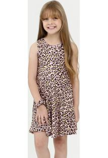 Vestido Infantil Estampa Animal Print Brinde Marisa