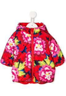 Kenzo Kids Japanese Flower-Print Hooded Jacket - Vermelho