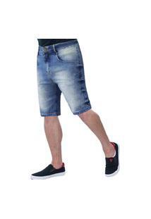 Bermuda Jeans Masculina Frozini Elastano Slim Delavê Com Pins Laterais