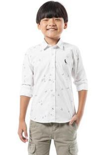 Camisa Mini Pf Aventureiro Infantil Reserva Mini Masculina - Masculino-Branco