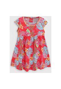 Vestido Fakini Infantil Folhagem Vermelho