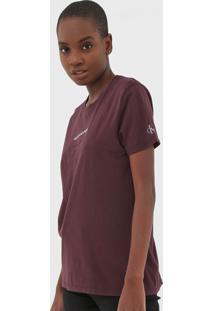 Camiseta Calvin Klein Jeans Accept No Fakes Vinho - Kanui