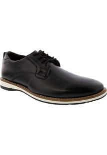 Sapato Social Valença Com Pespontos Preto Preto