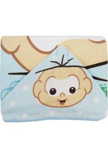Toalha De Banho Masculina Com Capuz Estampada Cebolinha Bebê - Masculino-Azul