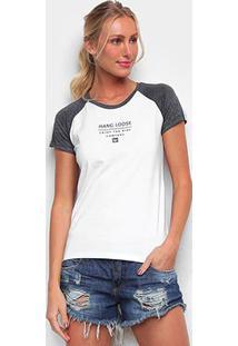 Camiseta Baby Look Hang Loose Bicolor Company Feminina - Feminino-Branco+Grafite