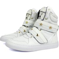 2a33c1f8c4 Dafiti. Tênis Sneaker Fitness Cheia De Marra Couro Cano Alto Branco