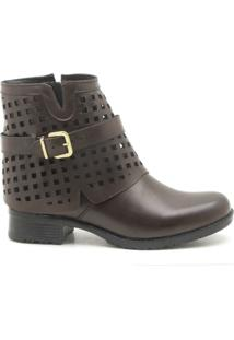 Bota Tipo Ankle Boot Em Couro Atron Shoes Feminino - Feminino