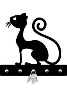 Porta Chaves Silhueta Gato Magro Love Decor Preto - Tricae