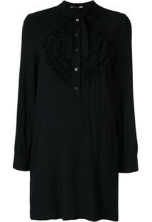 Love Moschino Vestido Com Jabô - Preto