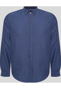 Camisa Masculina Comfort Manga Longa Azul