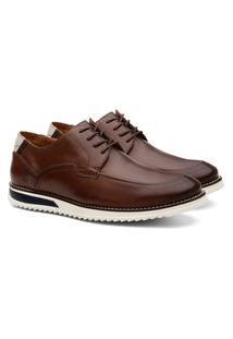 Sapato Social Masculino Couro Bico Redondo Liso Conforto Marrom