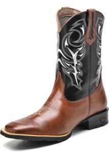 Bota Texana Fak Boots Cano Longo Bordado Marrom - Kanui