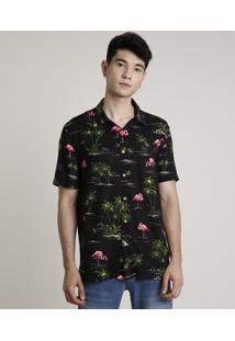 Camisa Masculina Estampada De Flamingo Manga Curta Preta