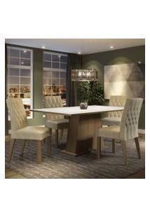 Conjunto Sala De Jantar Madesa Ingrid Mesa Tampo De Madeira Com 4 Cadeiras Rustic/Branco/Imperial