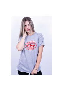 Camiseta Bilhan Corte A Fio Perfection Is Boring Gde Cinza