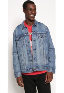 Jaqueta Jeans Com Recortes - Azul & Vermelhalevis