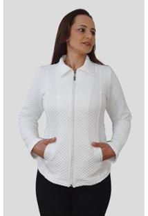 Jaqueta Tomasini Tricot Metalassê Feminina - Feminino-Branco