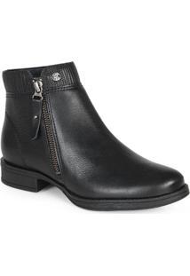 Ankle Boots Feminina Zíper Preto