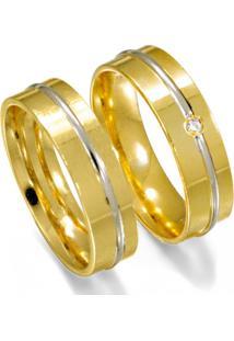Aliança De Ouro Casamento 1 Filete Em Ouro Branco - As0575 + As0536 Casa Das Alianças