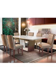 Conjunto De Mesa De Jantar Sofia Com 6 Cadeiras Estofadas Lunara Animalle Off White E Chocolate