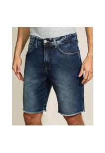 Bermuda Jeans Masculina Slim Com Bolsos E Barra Desfiada Azul Escuro