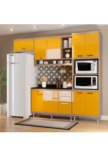 Cozinha Compacta Sicília Com Tampo 9 Portas Argila/Amarelo - Multimóveis