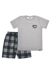 Pijama Mescla Cinza - Juvenil Menino Meia Malha 42854-567 Pijama Cinza - Juvenil Menino Meia Malha Ref:42854-567-14