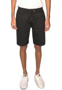 Bermuda Moletom Masculina Skinny Loungewear Conforto Casual - Masculino-Preto