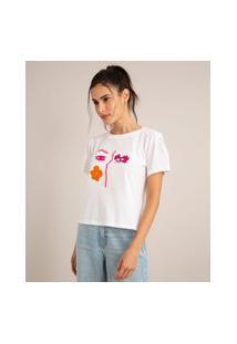 Camiseta De Algodão Estampa Face Com Bordados Manga Curta Decote Redondo Off White