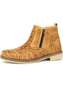 Botina Touro Boots Agriculture Ziper Escamada Bege