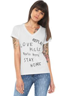 Camiseta Replay Love Kills Branca