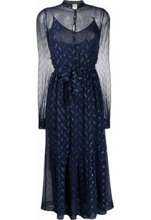 Saint Laurent Vestido Metalizado - Azul