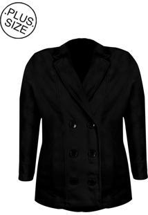 Casaco Linda D+ Transpassado Lã Batido Plus Size Preto