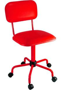 Cadeira De Escritório Secretária Color Fixa Corano Vermelho
