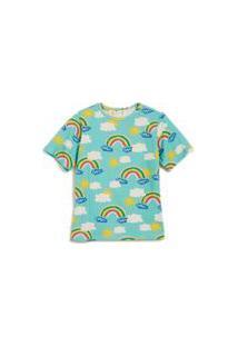 Camiseta Oversize Malha Arco Iris Est Arco-Iris Turquesa %