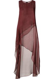Thomas Wylde Vestido Assimétrico De Seda - Vermelho