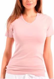 Camiseta Com Rendinha Liz Loungewear (21221) Algodão Pima Peruano, Rosa, M