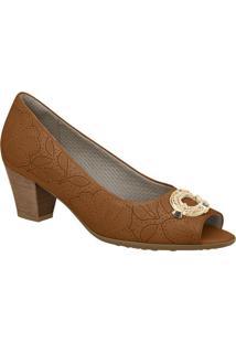 Peep Toe Floral- Caramelo & Dourado- Salto: 5Cmpiccadilly